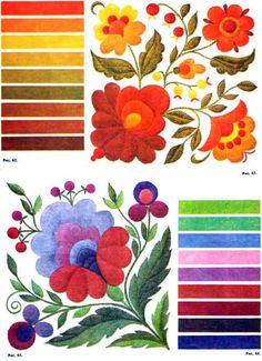 Сочетание цветов в вышивке двусторонней гладью