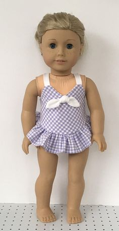 27accdf480466 18 doll lavender and white gingham one piece bathing American Doll Clothes,  Ag Doll Clothes