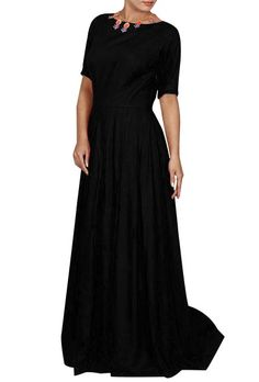 Feel regal in this flowy black gown inspired by the vintage silhouettes worn by the princesses. The gown is designed from soft rayon that gives you the comfort and the elegance in gait you need. It has pleated layered skirt, soft lining on the inside, high neck design and elbow-length sleeves. To give you the perfect fit and to highlight your waistline, a side zip is also provided to the dress. A dress to give you the pleasures of royal dressing. Color: Black Material: Rayon