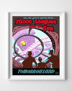 Vintage Disneyland Poster Print 20000 Leagues by InkistPrints