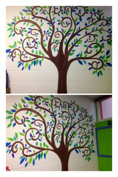 swirly tree with blue/green leaves to match classroom :-)