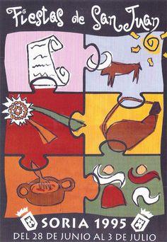 Cartel Fiestas de San Juan 1995. Diseño: Alfredo Vilar y Patxi Martínez