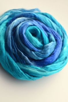 Mulberry Silk Roving Top, Sliver, spinning, felting, needle felting, fibre art paper making 20 grams 1.75 oz Blue Mix 11773 by feltfibrecraft on Etsy