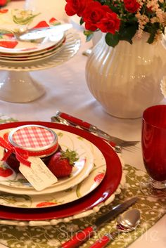 StoneGable: Tablescapes  Perfect for my home made preserves!