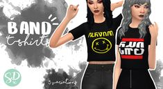 """sondescent: """" band t-shirts so i wanted some simple shirts that can be thrown on anytime, but fitting with my simlish aesthetic. i love 'em! they only come in 5 swatches but they were the best i could..."""