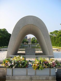 Completed in 1955 in Hiroshima-shi, Japan. On August a bomber dropped the first atomic bomb in history over Hiroshima, Japan, targeting the intersection of bridges over the. Nagasaki, Hiroshima Japan, Japan Travel Tips, Asia Travel, Memorial Architecture, Amazing Architecture, Hiroshima Peace Memorial, Kenzo Tange, Memorial Park