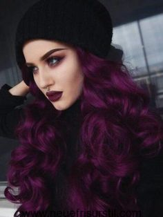 Hair, dark plum hair color, purple hair colors, deep burgundy hair color, d Deep Purple Hair, Hair Color Purple, Purple Burgundy Hair, Purple Wig, Curly Purple Hair, Dark Purple Lipstick, Matte Lipstick, Lipstick Colors, Burgundy Colour