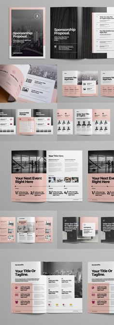 page ui design Business Proposal Brochure Layout. Buy this stock template and explore similar templates at Adobe Stock Booklet Design Layout, Layout Design, Design De Configuration, Brochure Design Inspiration, Layout Template, Design Design, Design Ideas, Restaurant Brochure, Mise En Page Magazine