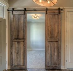 Barn Door Pantry, Barn Door Closet, Diy Barn Door, Diy Door, Bathroom Barn Door, Barn Door Decor, Black Interior Doors, Interior Sliding Barn Doors, Farmhouse Interior Doors