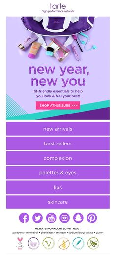 While everyone else is using white backgrounds, tarte has designed an email that truly POPS in your inbox!