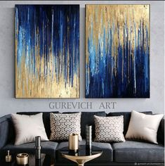 Extra large blue abstract painting, modern acrylic art, original abstract art, texture painting Blue Abstract Painting, Abstract Canvas Art, Acrylic Art, Acrylic Painting Canvas, Knife Painting, Gold Leaf Art, Texture Painting, Home Wall Art, Art Pictures