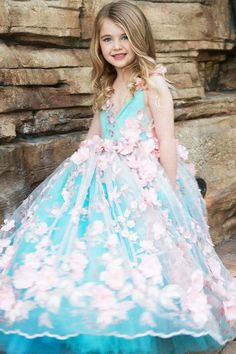 flower girl dress pink and aqua couture flower girl dress image 5 Cute Little Girl Dresses, Pink Flower Girl Dresses, Stunning Dresses, Nice Dresses, Princes Dress, Kids Gown, Frocks For Girls, Gala Dresses, Dress Images