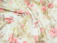 Coral Floral Burn-Out Print Viscose Jersey Fabric Remnant - 110cm wide x 2.75 me