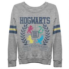 Hogwarts Crest Long Sleeve Banded Bottom Grey Shirt. Would be such a great Vday gift if your girlfriend is an HP fan! #harrypotter