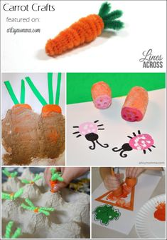 Need inspiration for a carrot craft or activity? Here are carrot crafts for kids that are fun for Easter or a healthy eating lesson! Easter Crafts For Kids, Toddler Crafts, Preschool Crafts, Fun Crafts, Printable Activities For Kids, Easter Activities, Children Activities, Spring Activities, Spring Crafts For Kids