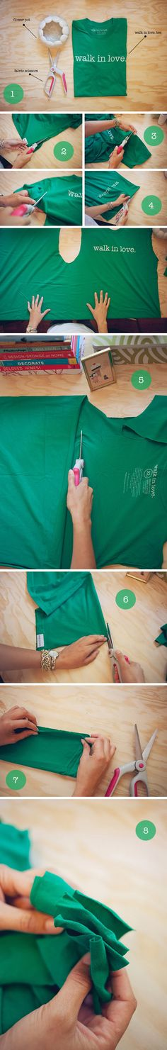 This is a really simple DIY project for any crafter - all you need to be able to do is tie knots! Have fun with it! ________________________________ 1. Gather your supplies. Larger sized tees always work best... but anything will work. 2. Cut along the edges of the tee. 3. Cut off the sleeves. 4. Cut along the top shoulder seam. 5. Cut off the upper third of the tee - from one armpit seam to the next. (Set aside all extra fabric for future projects!) 6. Fold your piece of fabric in half and…