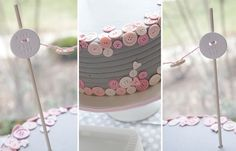 cute as a button pink and grey birthday party.    Maybe an idea for a girl baby shower.