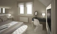 Ekskluzywny apartament we Wrocławiu. Sypialnia na piętrze.