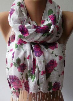 Pink Flowers   Silky Touch  Elegance Shawl / Scarf by womann, $15.00