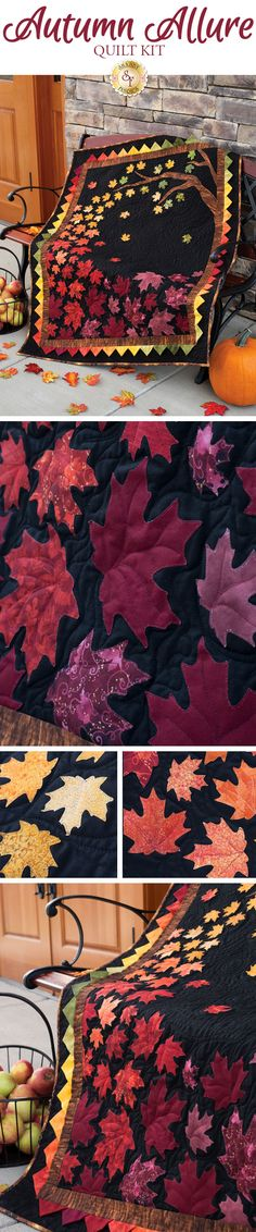 "Autumn Allure Quilt Kit - Pre-Fused/Laser-Cut Bring the breathtaking colors of fall into the comfort of your home with the beautiful Autumn Allure Quilt! This striking quilt features leaves in Fall's finest hues gently drifting in the breeze, finished with a seamless colored gradient of prairie points for the inner border! Designed right here at Shabby Fabrics, this quilt is one of our gorgeous Shabby Fabrics Exclusives! Quilt finishes to approximately 41½"" x 51½""."