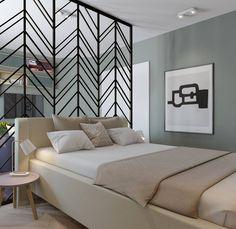 Если в вашей спальне преобладают зелёные цвета, то атмосфера релакса, уюта и комфорта вам обеспечена. На фото наш проект спальни совмещенный с гостиной, в скандинавской стилистике. Интерьерам в скандинавском стиле свойственна пастельная цветовая гамма, натуральные материалы и фактуры, и природные цвета. В данном случае, такой оттенок хвойный зелени оказался удачной находкой
