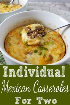 *Use almond flour for Keto These easy Individual Mexican Casseroles have mild flavors of green chiles combined with onions, garlic, ground beef, cheese and Mexican spices making this hot dish delicious and satisfying. Mexican Dishes, Mexican Food Recipes, Beef Recipes, Cooking Recipes, Indian Dishes, Recipies, Sausage Recipes, Cooking Tips, Indian Recipes