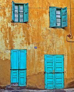 blue doors in Antananarivo, Madagascar.