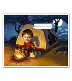 Camping Out Caricature from Photos - A fun caricature to remember all of your camping memories. Up to five people can be added! :)