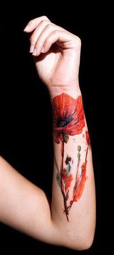 Olivia Wong, Tattoo Temple, Hong Kong #ink #tattoo #floral #watercolor
