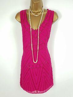 3b93330fbd8 JANE NORMAN Pink Beaded Gatsby Mini Dress UK 12 BNWT  fashion  clothing   shoes