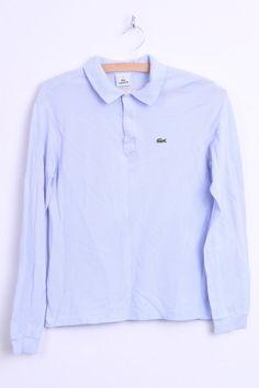 Lacoste Womens 14 S Polo Shirt Light Purple Long Sleeve Cotton Top - RetrospectClothes