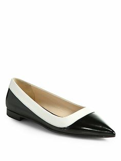 Prada - Bicolor Leather Ballet Flats - Saks.com