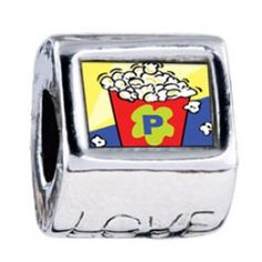 Movie Popcorn Photo Love Charms  Fit pandora,trollbeads,chamilia,biagi,soufeel and any customized bracelet/necklaces. #Jewelry #Fashion #Silver# handcraft #DIY #Accessory