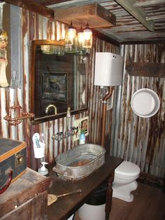 Corrugated Metal Decorating Ideas On Pinterest Log Cabin Kitchens Corrugated Tin And Metals