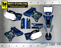 Moto-StyleMX graphics kit as shown. Yamaha Yzf, Decals, Graphics, Fitness, Motorbikes, Tags, Graphic Design, Sticker, Decal