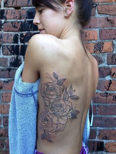 girl flower tattoos on side