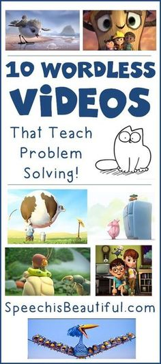 10 Wordless Videos that Teach Problem Solving -- Speech paths are seemingly always on the hunt for materials to address problem solving - did you ever consider videos? I found 10 wordless videos that are fun and make kids think about how to fix the main c Teaching Tools, Teaching Resources, Teaching Social Skills, Teaching Art, Teaching Emotions, Social Skills For Kids, Social Skills Activities, Leadership Activities, Educational Leadership