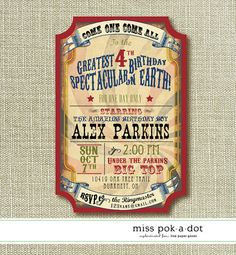 custom printed vintage carnival or circus party invitation