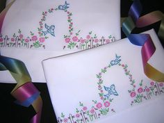 Blue Birds at Garden Gate w/ Cottage Fence Vtg Hand Embroidered Pillowcases Pair