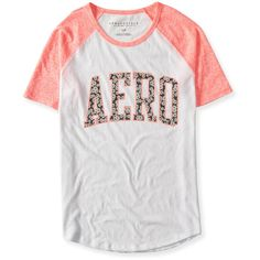 Aero Floral Graphic T ($11) ❤ liked on Polyvore featuring tops, t-shirts, radiant coral and aéropostale
