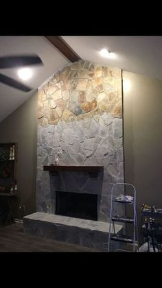 Kitchen Living Rooms Remodeling whitewash your stone fireplace for under 20 - Did y'all know you can whitewash a stone fireplace? Super easy, very cheap, and can make a huge difference. I loved the stone fireplace in our home but it was… Whitewash Stone Fireplace, White Wash Fireplace, Stone Fireplace Makeover, Diy Fireplace, Modern Stone Fireplace, Fireplace Update, Painting A Fireplace, Stone Fireplace Mantles, White Stone Fireplaces