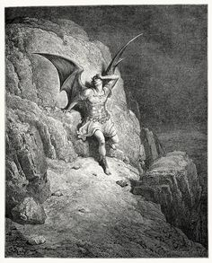 Satan (Gustave Doré). Illustration for John Milton's Paradise Lost. Featured on: LORD BELIAL - Angelgrinder.