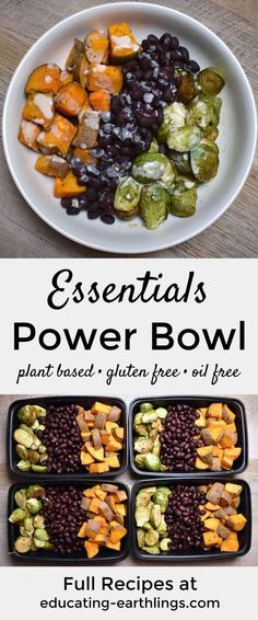 Simple plant-based meal prep recipe with black beans, Brussels sprouts and sweet potato! Vegan, gluten-free, oil-free and nutritarian (just keep the sweet potato down to 1 cup) dinner meal prep Essentials Power Bowl w/ Tahini Lime Drizzle Vegetarian Meal Prep, Healthy Meal Prep, Vegetarian Recipes, Healthy Eating, Healthy Vegan Meals, Vegan Recipes Plant Based, Vegan Brussel Sprout Recipes, Simple Meal Prep, Plant Based Dinner Recipes