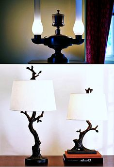 Table lamp is a small lamp designed to stand on a table. Adding elegance to your home decor could easily be achieved with the smallest thing such as adding a table lamp. Green Table Lamp, Black Table Lamps, Table Lamp Base, Lamp Bases, Grey Table, Buffet Table Lamps, Touch Lamp, Lamp Design, Glass