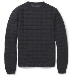LanvinQuilted Wool Sweater|MR PORTER 1,495.00  Basic Black has a new identity this Fall/winter. Couple this with a pop color down feather bubble vest and a pair of black wingtip boots for the nights best dressed award.