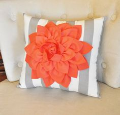 """ALL ITEMS ARE MADE TO ORDER PLEASE SEE SHOP FOR CURRENT CREATION TIME!!! Large Coral Dahlia Flower on Gray and White Stripe Pillow. 14 x14"""" larger sizes can be made please contact seller before purcha"""
