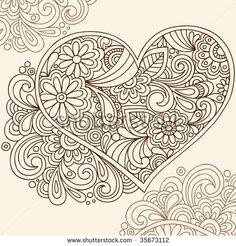 Hand-Drawn Doodle Henna Heart Vector Illustration