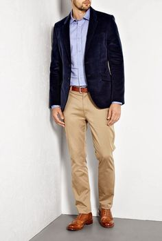 Business casual: Wing tips, khakis, velour blazer