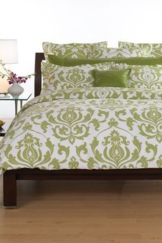 Wildcat Territory Trudie Duvet 3 Piece Set - Kiwi Cream Bold damask print is the ideal accent for any vibrantly modern home. Queen Bedding Sets, Duvet Sets, Queen Beds, Queen Duvet, Home Bedroom, Bedroom Decor, Master Bedroom, Bedroom Ideas, Bedroom Inspiration