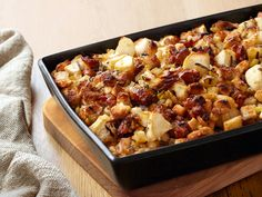 Sausage-Apple Stuffing recipe from Alex Guarnaschelli via Food Network Thanksgiving Recipes, Fall Recipes, Holiday Recipes, Dinner Recipes, Thanksgiving Celebration, Holiday Foods, Side Recipes, Apple Recipes, Apple Stuffing